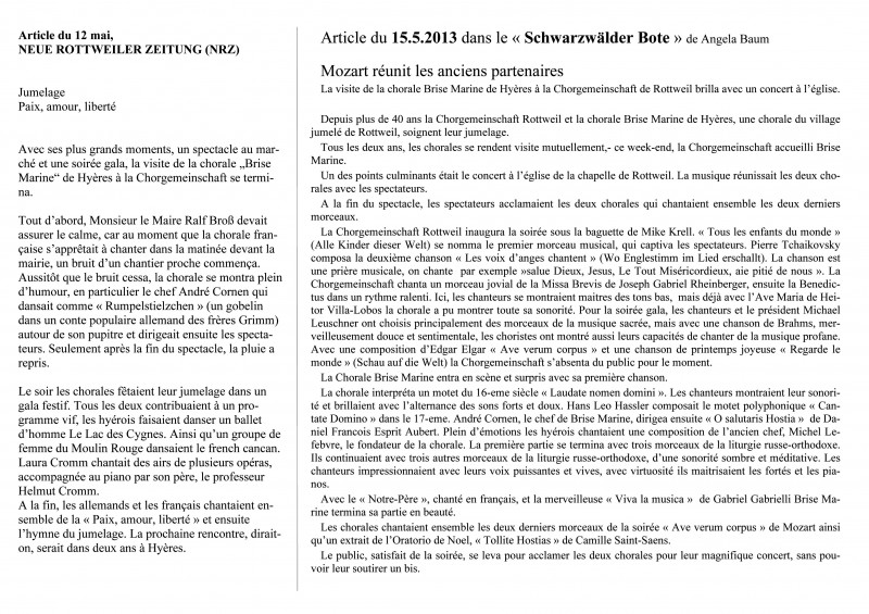 Articles JOURNAUX Rottweil 2013